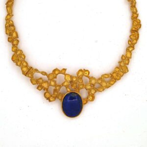 Lapis lazuli Necklace Silver Gold plated made by Hand Relief Abstract art name Nest