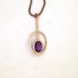 Oval Pendant silver Amehyst The February birthstone