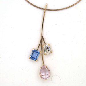 Pendant blue topaz morganite pink Hamberite silver