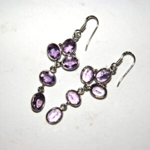 Earrings with 10 Amethyst silver white gold plated Price 450