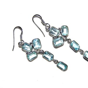 Earrings with 10 Blue Topaz silver white gold plated Price 450