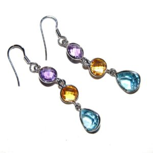 Earrings with 6 Amethyst Citrine Blue Topaz silver white gold plated