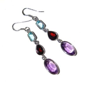 Earrings with 6 Amethyst Garnet Blue Topaz silver white gold plated