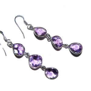 Earrings with 6 Amethyst silver white gold plated