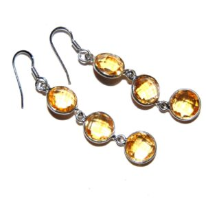 Earrings with 6 Citrine silver white gold plate