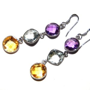 Earrings with 6 stones Amethyst Blue Topaz Citrine silver white gold plated
