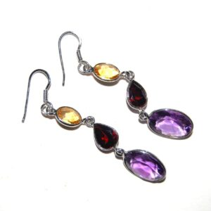 Earrings with 6 stones Amethyst Garnet Citrine silver white gold plated Price 350