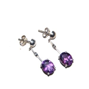 Earrings with Amethyst silver white gold plated Price 280