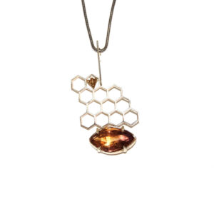 Hive Bee Enstatile-brown Pendant-silver hand made Price 900 special offer 750