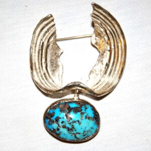 Silver Brooch composition of Turquoise stone with metal Price 800 offer 750