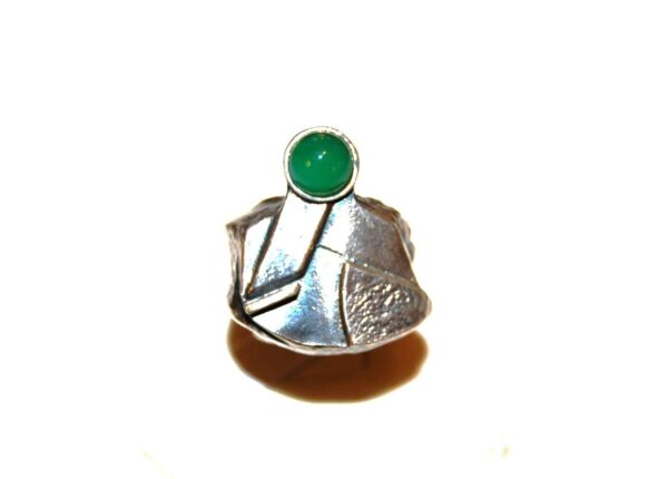 Silver ring Green Agate