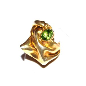 Ring in Silver goldplated with a Peridot