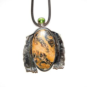 Jasper nacklace peridot silver