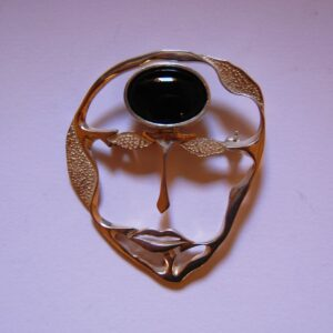 Silver 925 Brooch Mask with a Onix stone